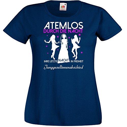 Damen T-Shirt für den Junggesellenabschied mit Motiv Atemlos - IHRE letzte Nacht in Freiheit (Frauen) in navy, Größe S