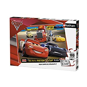 Nathan 86748-Puzzle-100Piezas-Flash y Sus Amigos-Cars 3-Disney