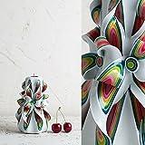 Klein, Rot und Weiß - sanfte Farben - dekorativ geschnitzte Kerze - EveCandles