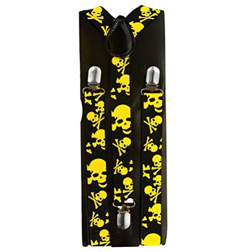 Hosenträger verstellbar verschiedene Farben (Schwarz-gelbe Totenköpfe)