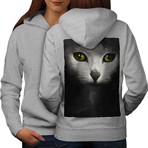 Psychédélique Animal Chat Femme S-2XL Sweat à capuche le dos | Wellcoda Gris