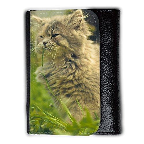 Portemonnaie Geldbörse Brieftasche // V00003094 Katze, die Gras essen // Medium Size Wallet (Gras Essen)