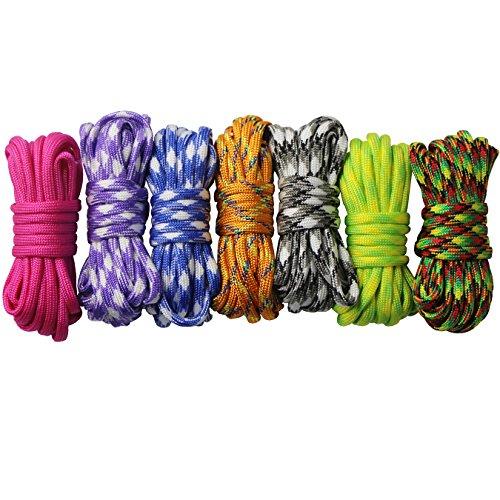 Imagen de 7 piezas cuerda paracord set ideal para el aire libre, camping, trenzar pulseras y llavero diy mano tejida alternativa