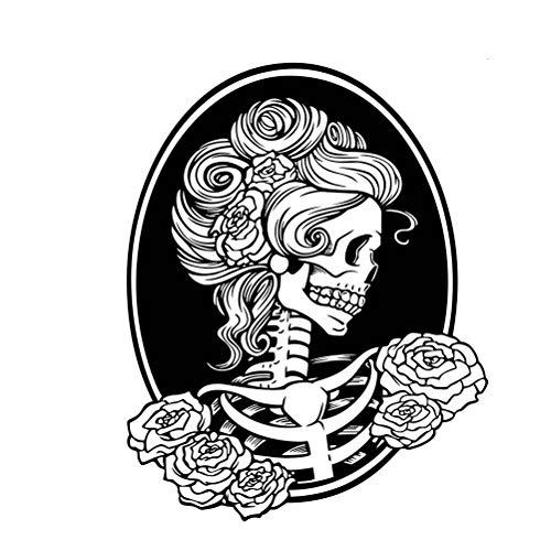 Vosarea Halloween Wandaufkleber Weibliche Schädel Wandaufkleber Abnehmbare Wandtattoo Halloween Party Dekorationen (58x74 cm)