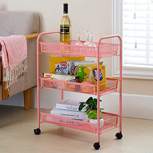 ATR Edelstahlregale Badezimmerregale Küchenwagen Flaschenzug Gemüseregale Schlafzimmerregale (Farbe: Pink)