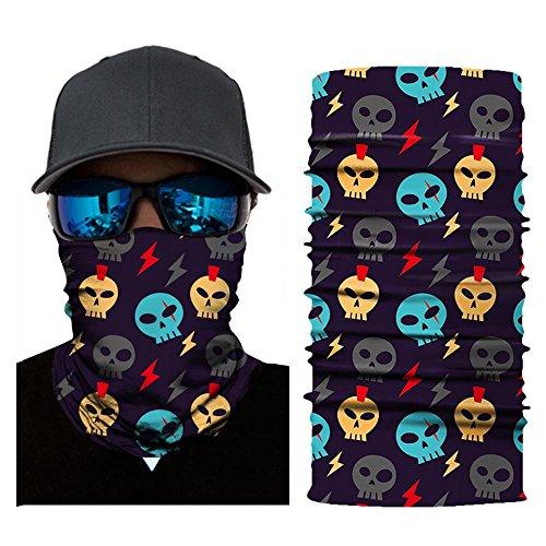 Wokee Multifunktionstuch Bedrucktes Kopftuch Halstuch Ausgefallenem Design Gesichtsmaske Ski Balaclava Stirnband für Motorrad Ski,Verschiedene Muster (D)