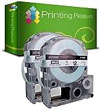 Printing Pleasure 2 x AS12KW SS12KW Schwarz auf Weiß, Schriftband kompatibel für EpsonLabelWorks LW-300 LW-400 LW-500 LM-700 LW-900P OK200 OK300 OK500P OK720 OK900P KingJim TepraPro SR230C SR530C SR3900C SR150 SR180 SR-PBW1 SR-RK1 SR300TF SR40 SR3700P SR550 SR530 SR330 SR6700D SR3900P SR950 SR750 | 12mm x 8m