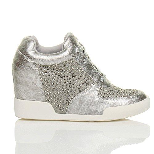 Tacco Alto Da Donna Con Tacco Alto Da Uomo Scarpe Casual Sneaker Stivaletti Taglia Argento