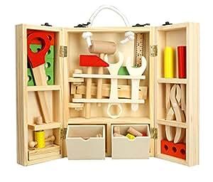 Legno Giocattolo Costruzioni Bambini Cassetta degli Attrezzi da Lavoro 35 Pcs Carpenteria Set Gioco di Imitazione 4 Anni e Oltre