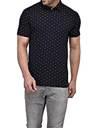 Vivid Bharti Men's Polo Navy Printed Tshirt