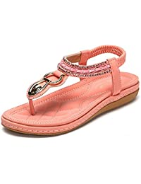 785962b37cea8 Minetom Women Sandwich Sandals Rhinestone Clip Toe Beach Shoes Elastic  T-Strap Bohemia Flat Slippers