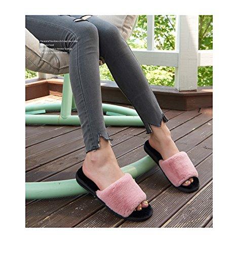 TELLW Pantofole di Cotone da Donna Pantofole da Pavimento in Legno con Pantofole morbide Invernali Vino rosso
