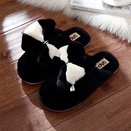 spesse peluche ra DogHaccd Tie cotone Bow lussuosi incantevoli maschio interni di Nero2 La inverno sig pantofole home pantofole pantofole di xIwqItrTg