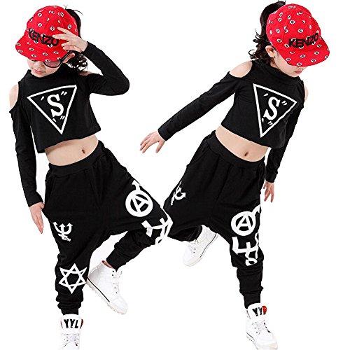 E Support™ Schwarz Mädchen Modern Jazz Tanzkleidung TOP + Pants Kinder Hip Hop Tanzen kostümiert (Tanz Hip Hop Kostüme Mädchen)