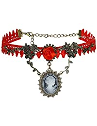 Jewels Galaxy Stylish Red Rose Designer Beautiful Chokar Necklace For Women