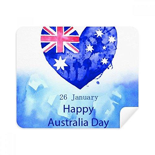 DIYthinker Australien Happy Day Herz-Form-Flagge Telefon Screen Cleaner Gläser Reinigungstuch 2Pcs Suede Fabric
