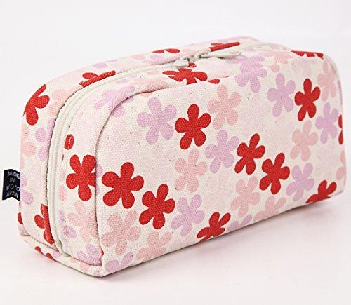 Pochette portatutto giapponese Borsetta Pouch Goshiki Hanpu Do «Kyoto Japan» (pois / ècru) fiorame / rosa