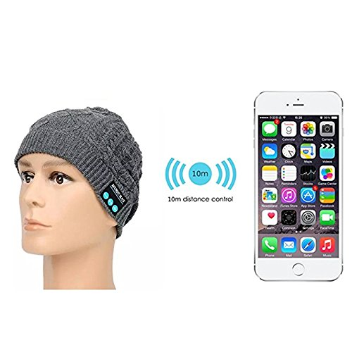 Bluetooth Headset Hat - Megadream Winter Warm Detachable Wireless Bluetooth +EDR Headphone MP3 Audio Music Beanie Hat Headwear With Volume Control & Stereo Speakers & Handsfree Mic Washable Unisex Winter Wrinkle Knitted Crochet Baggy Hat Beret Beanie Cap Christmas Gifts for Fitness Outdoor Sports,5 Colors Available