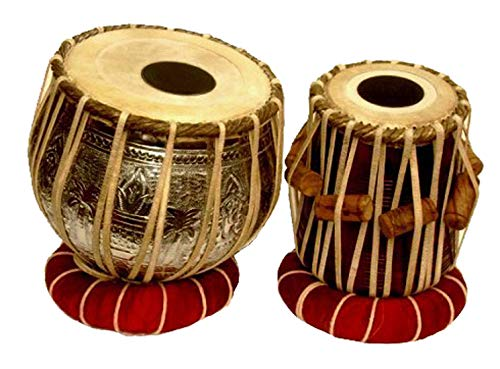 Makan 3.5 Kg Ganesha Designer Chrome Brass Bayan, Finest Sheesham Dayan Tabla Drum Set Percussion Musical Instrument with Carry Bag & Cushion