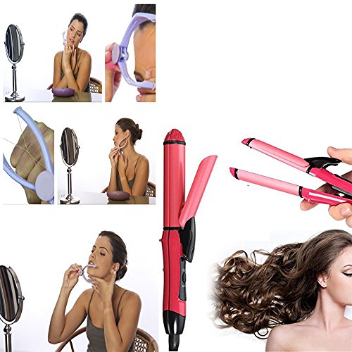 Vmoni 2 in 1 Hair Straightener And Slique Hair Removal System Kit Combo Pack