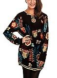 DJT Femme T-shirt Manches Longues Lache occasionnel motifs differents Blouse ...