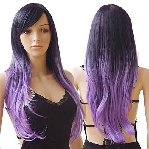 S-noilite® 70cm Damen Lang Ombre Haar Perücken Mode Gelockt Gewellt Perücke Kunsthaar Haar Cosplay Wig - Schwarz zu Lila