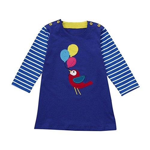 Overdose Kleinkind Baby Mädchen Kind Herbst Kleidung Pferd Print Stickerei Prinzessin Langarm T-shirts Party Kleid Mini Kleid(3-4T,C-Blau) (Hochzeit Kleinkind Blau T-shirt)