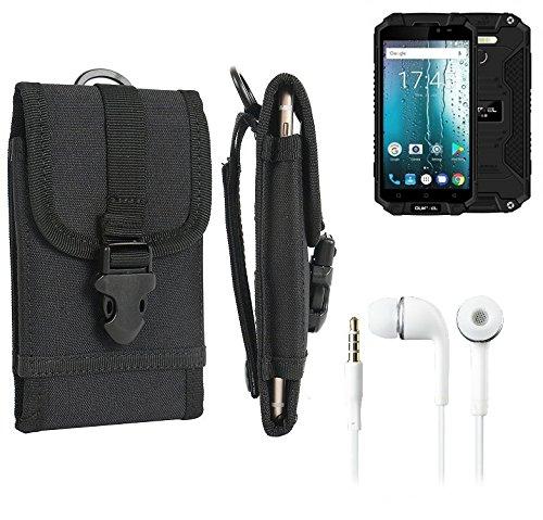 K-S-Trade Schutzhülle für Oukitel K10000 MAX Gürteltasche Gürtel Tasche extrem robuste Handy Schutz Hülle Tasche Outdoor Handyhülle schwarz 1x + Kopfhörer