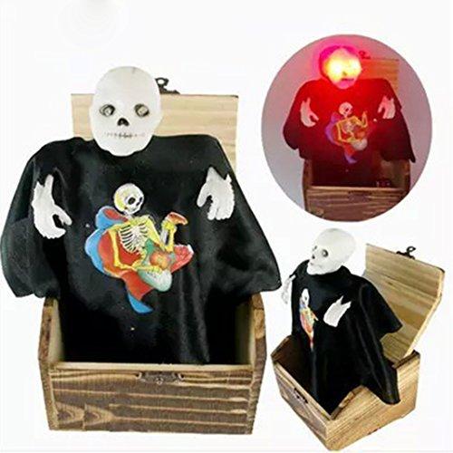 Halloween Deko, Rosa Schleife Halloween Kreative Tricky Spielzeug Holzbox Pop-up Horror Schädel Hexe glühend Augen und Terror (Mall Halloween)