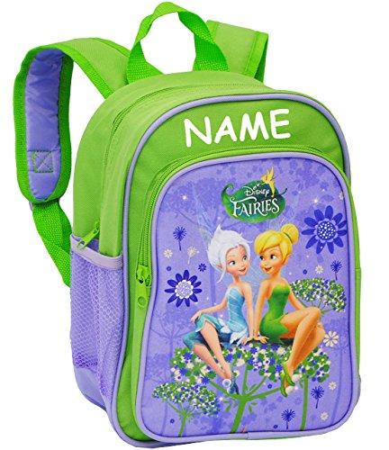 Kinder Rucksack -  Disney Fairies - Tinkerbell  - incl. Name - Tasche - wasserfest & beschichtet - Kinderrucksack / groß Kind - Mädchen - z.B. für Kindergar.. ()