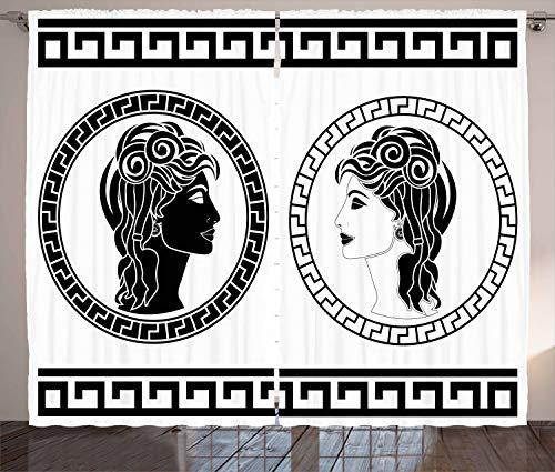 ABAKUHAUS Toga-Party Rustikaler Gardine, Aristokraten Frauen, Schlafzimmer Kräuselband Vorhang mit Schlaufen und Haken, 280 x 260 cm, Weiß Schwarz (Frauen Toga Für)