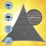 Windhager Sonnensegel, Sonnenschutz, Sunsail ADRIA Dreieck 3,6 x 3,6 x 3,6 m (gleichschenkelig), UV-Schutz, witterungsbeständig und atmungsaktiv, GRANITGRAU, 10967 - 3