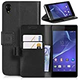 SONY XPERIA Z3 BLACK PLAIN PU LEATHER WALLET FLIP CASE COVER AND FREE SCREEN PROTECTOR FROM GADGET BOXX