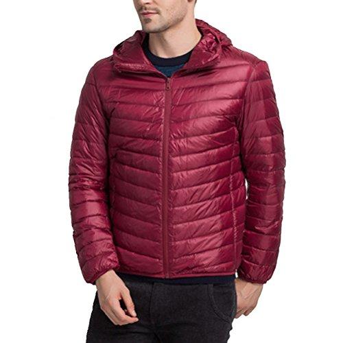 Zhuhaitf BONNE QUALITÉ Mens Down Jacket Warm Outwear Winter Lightweight Hooded Jacket Wine Red