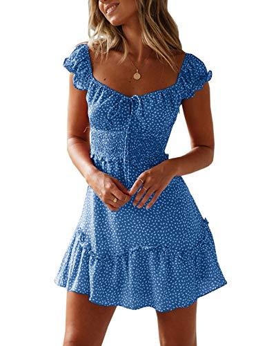 Ybenlover Damen Blumen Sommerkleid High Waist Volant Kleid Vintage Minikleid Strandkleid (Kleid Sexy Cocktail)
