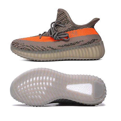 JINPU Boost 350 V2 Herren Sneaker Damen Sportschuhe Breathable Mesh Outdoorschuhe (40 EU, Graue Orange)