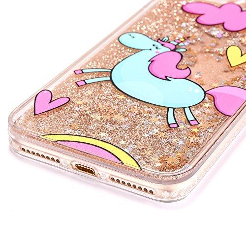 Coque iPhone 7 Plus 8 Plus Paillette, E-Unicorn Housse Étui Coque Apple iPhone 7 Plus 8 Plus Transparente avec Motif 3D Licorne Rose Strass Brillante Bling liquide Glitter Rigida Case Cover Bumper Inc Licorne Or Rouge