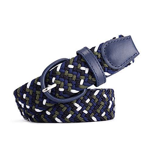 BOZEVON Cinturón trenzado elástico - Multi-colores Cinturón de tejido elástico tejido la tela de estiramiento para Hombres Mujeres Negro y azul y blanco y verde
