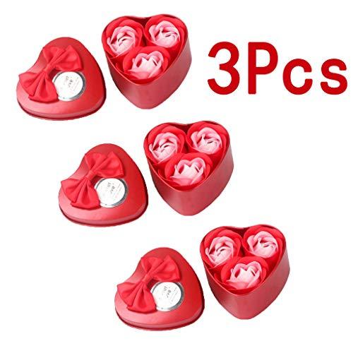Tianranrt ★ cuore profumato petalo rosa sapone decorazione regalo di nozze migliore, creativo fiore eterno 3 ferro scatola sapone fiore festa della mamma regalo in scatola,rosso