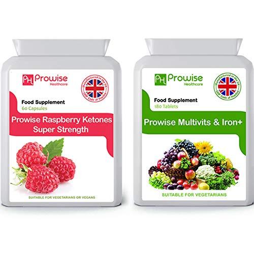 Himbeer Ketone 600mg 60 Kapseln + Multivitamine 180 Tabletten - UK Hergestellt nach GMP Garantierte Qualität - Geeignet für Vegetarier und Veganer von Prowise Healthcare