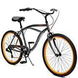 Critical Cycles Herren Chatham Men's Seven Speed, Graphite w/Orange Beach Cruiser, Matte Graphite w/Orange, One Size