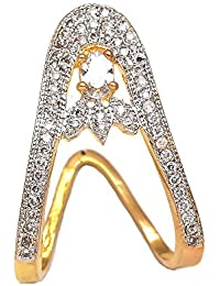 Geode Delight Gold Plated American Diamond Adjustable Ring For Wedding