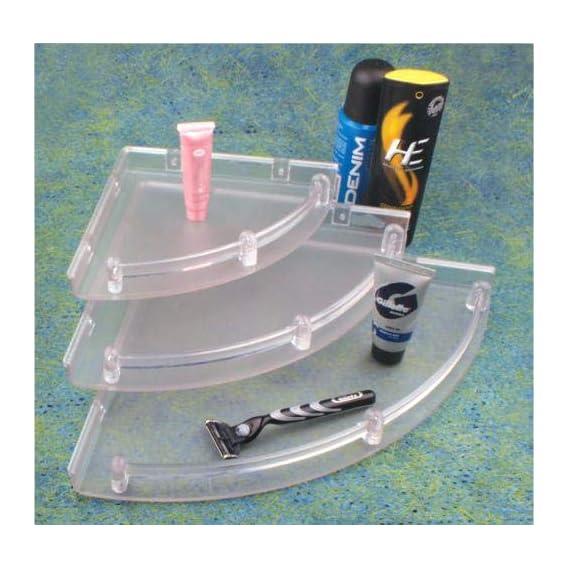 Drizzle SE016 Plastic Bathroom Corner Shelves Set (Clear, 3-Pieces)