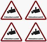 Kleberio 4 Selbstklebender PVC Aufkleber Warnschild 100 x 90 mm - Videoüberwachung - Piktogramm Hinweis Aufkleber