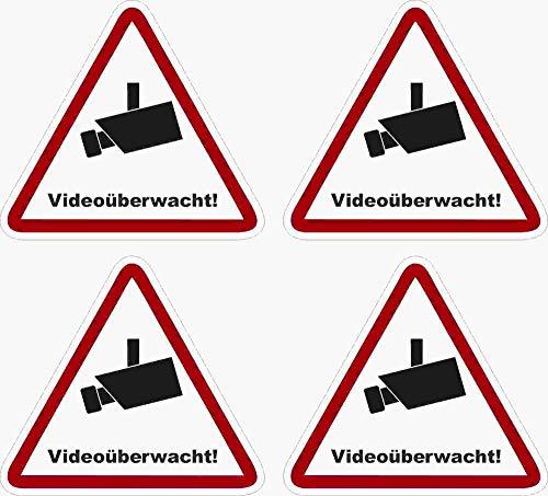 Kleberio® 4 selbstklebender PVC Aufkleber Warnschild 52 x 47 mm !! KLEIN...