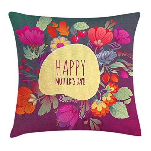 Mothers Day Throw Pillow Cushion Cover, Summer Flowers and Spring Revival Theme Inspired Wreath Floral Bundle with Text, Decorative Square Accent Pillow Case, 18 X 18 inches, Multicolor