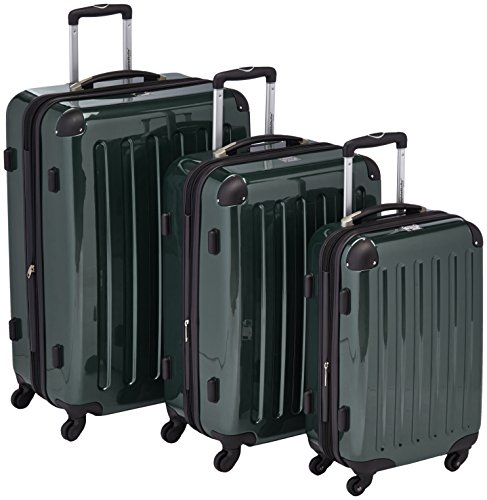 HAUPTSTADTKOFFER – Alex – Set of 3 Hard-side Luggages Glossy Suitcase Hardside Spinner Trolley Expandable (S, M & L) Darkgreen
