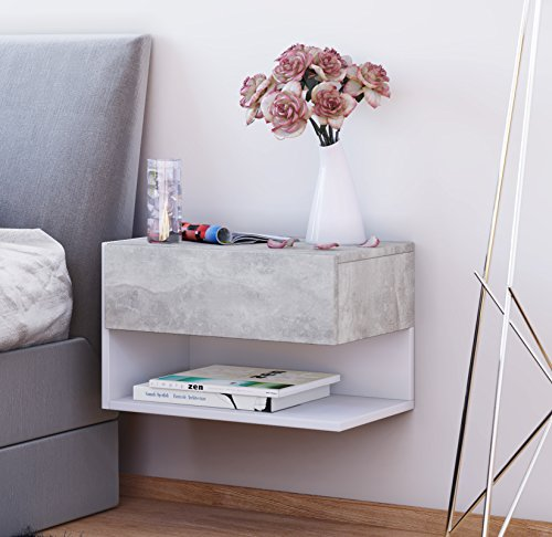 VCM Wand Nachttisch Tisch Nachtschrank Beistelltisch Nacht Kommode Konsole Beton-optik/Weiß 30 x 46 x 30 cm 'Dormal'