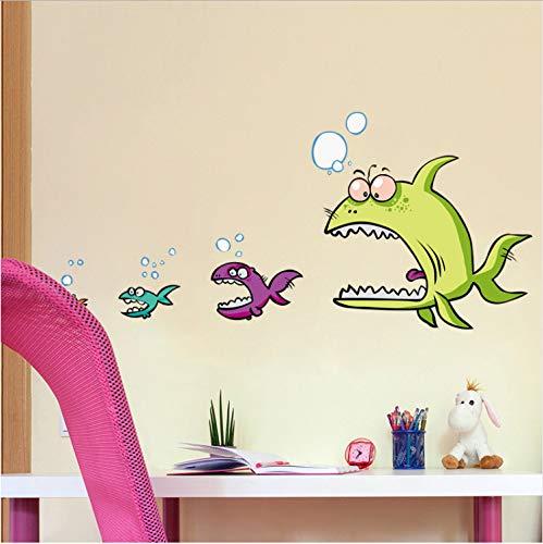 asfrata265 Lustige Fische Essen Fisch 3D Wandaufkleber Wohnkultur Küche Wand Kinderzimmer PVC Wandtattoo Dekoration 47 * 100 cm