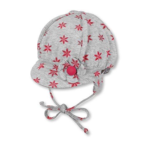 Sterntaler Ballonmütze für Mädchen mit Bindebändern und Blume-Motiv, Alter: 4-5 Monate, Größe: 41, Rot (Himbeer)